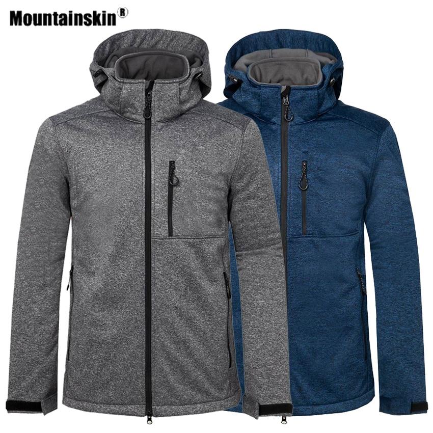 Mountainskin Men's Winter Hiking Softshell Jacket Outdoor Sport Thick Warm Windbreaker Camping Trekking Climbing Male Coat VA581