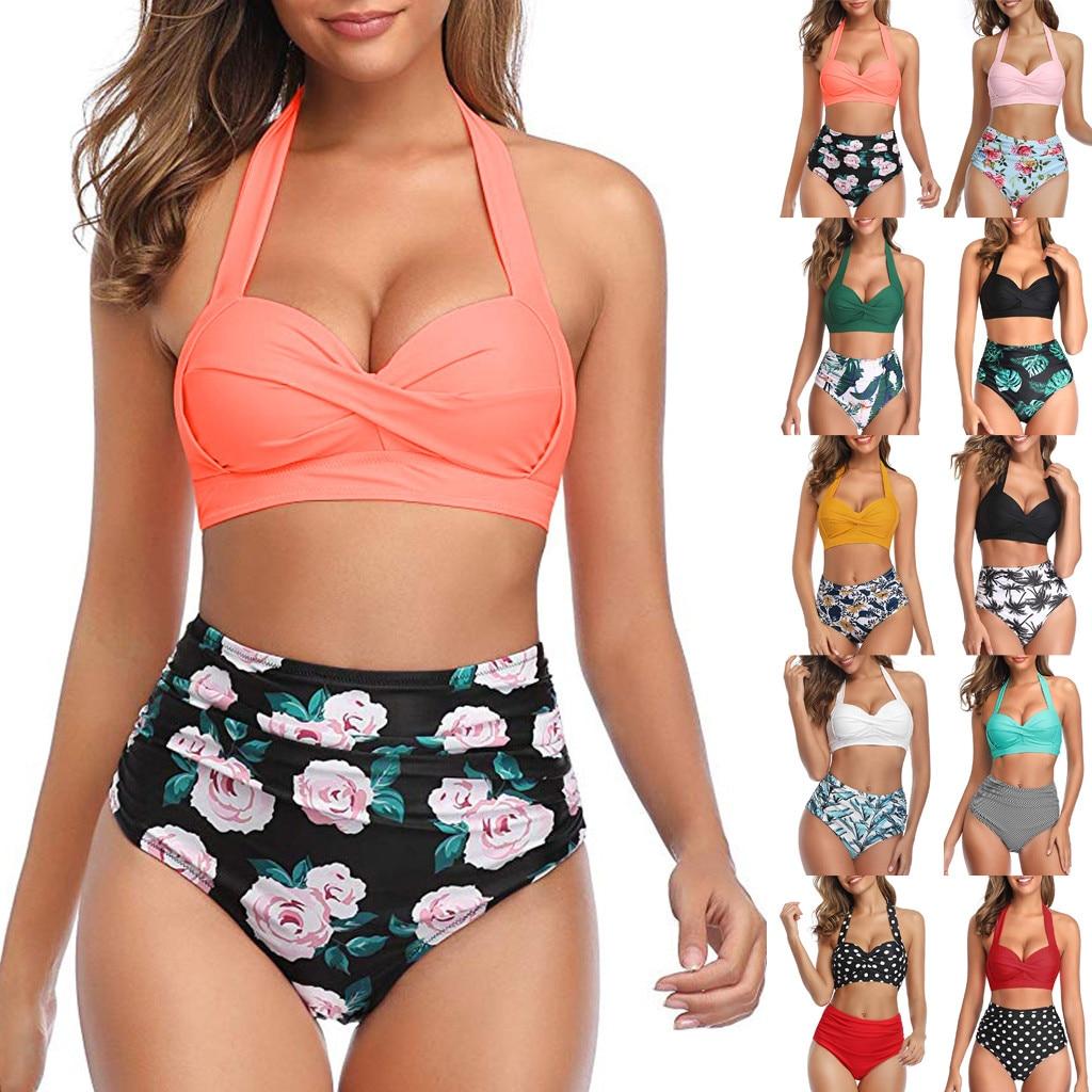 Новинка, женский модный комплект бикини с цветочным рисунком, бандо с открытыми плечами, купальник из двух предметов в горошек, купальный ко...