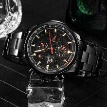 FORSINING นาฬิกาผู้ชายหลายฟังก์ชั่นสแตนเลสกันน้ำปฏิทินทหารอัตโนมัตินาฬิกา Montre Relogio