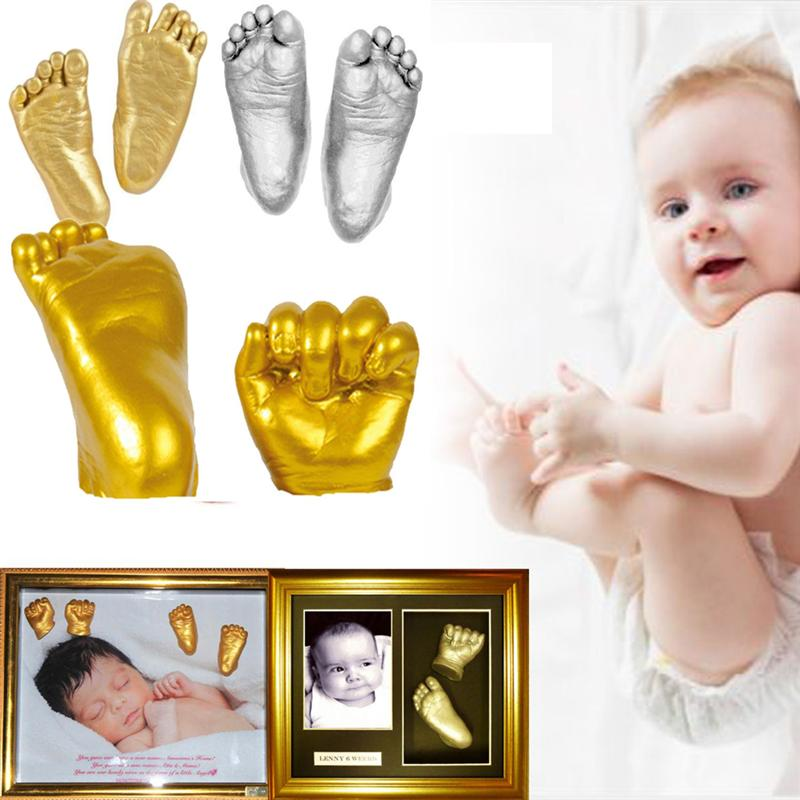 1 Set 3D Plaster Handprints Footprints Baby Hand Foot Casting Kit DIY Baby'S First Birthday Keepsake Gift Gold And Silver