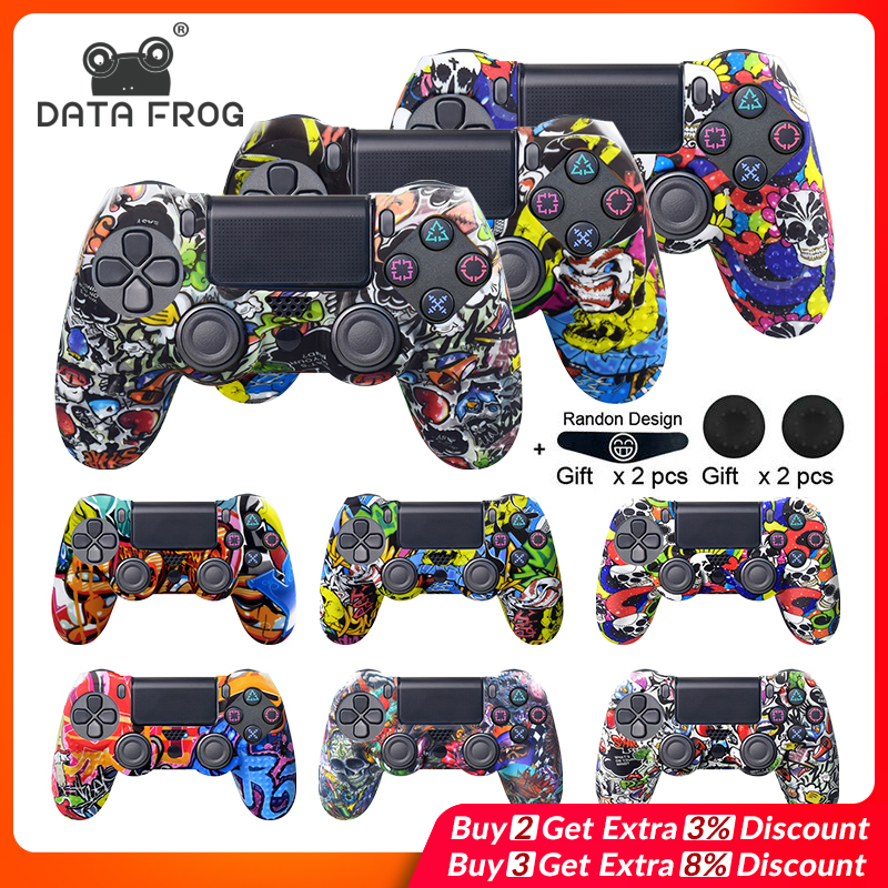 DATA FROG Anti-slip Silicone Camo Protective Skin Case For Sony Playstation 4 PS4 Pro Slim Controller Thumb Grips Joystick Caps
