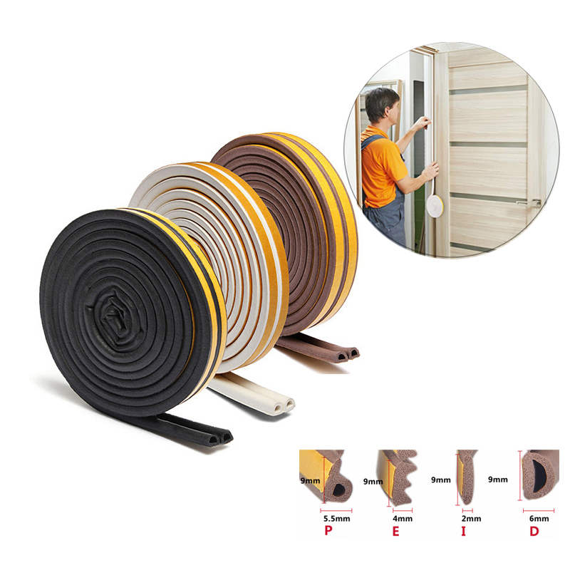 5metre Seal Strip Self-Adhesive D P E I Type Doors Windows Foam Soundproofing Collision Avoidance Rubber Sealing Strips Sticker