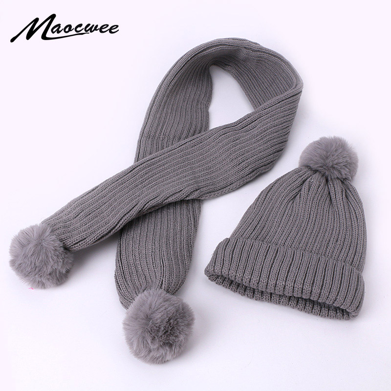 Winter Cute Baby Pompon Hat Scarf Set Knit Crochet Kids Hat Scarves Suit Warm Faux Fur Pom Hat Beanie With Lining For Boys Girls