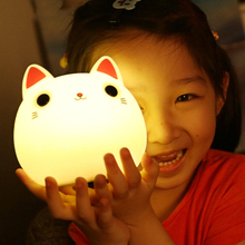 7 colors cute cat lamp colorful light silicone cat night lights children usb led night lamp bedroom rechargeable touch sensor Touch Sensor Colorful Led Cat Night Light Usb Rechargeable Cartoon Silicone Animal Bedroom Bedside Lamp For Children Baby Gift