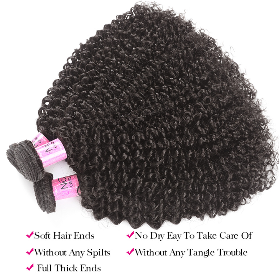 UNICE Hair Brazilian Kinky Curly Bundles With Closure 3 Bundles Human Hair With Closure Mink Remy Hair Weave Bundles