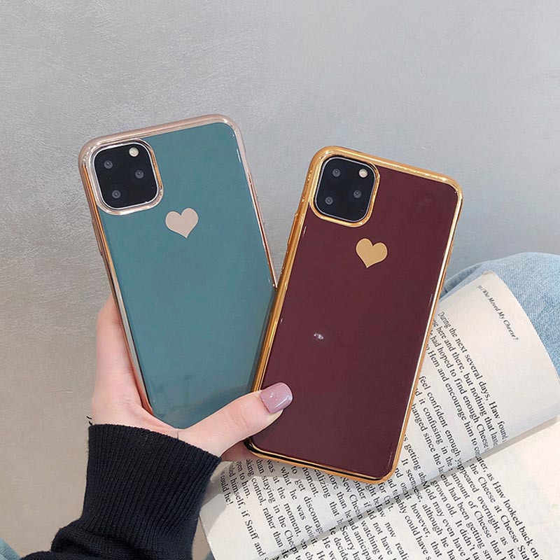 Moskado Luxe Electroplated Liefde Hart Telefoon Case Voor Iphone 11 Pro Max X Xs Max Xr Soft Tpu Siliconen Case voor Iphone 7 8 Plus