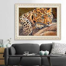 5d diy леопардовая алмазная живопись с животными Стразы мозаика