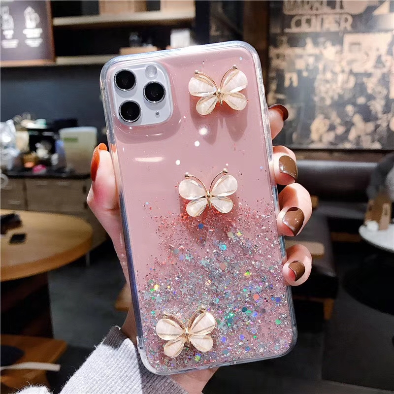 ALLCHW Luxury Shining DIY crystal butterfly Glitter Cover For iphone 11 Promax XSMAX 6 6S Plus 7 Plus 8 Plus Phone Case For S20P(China)