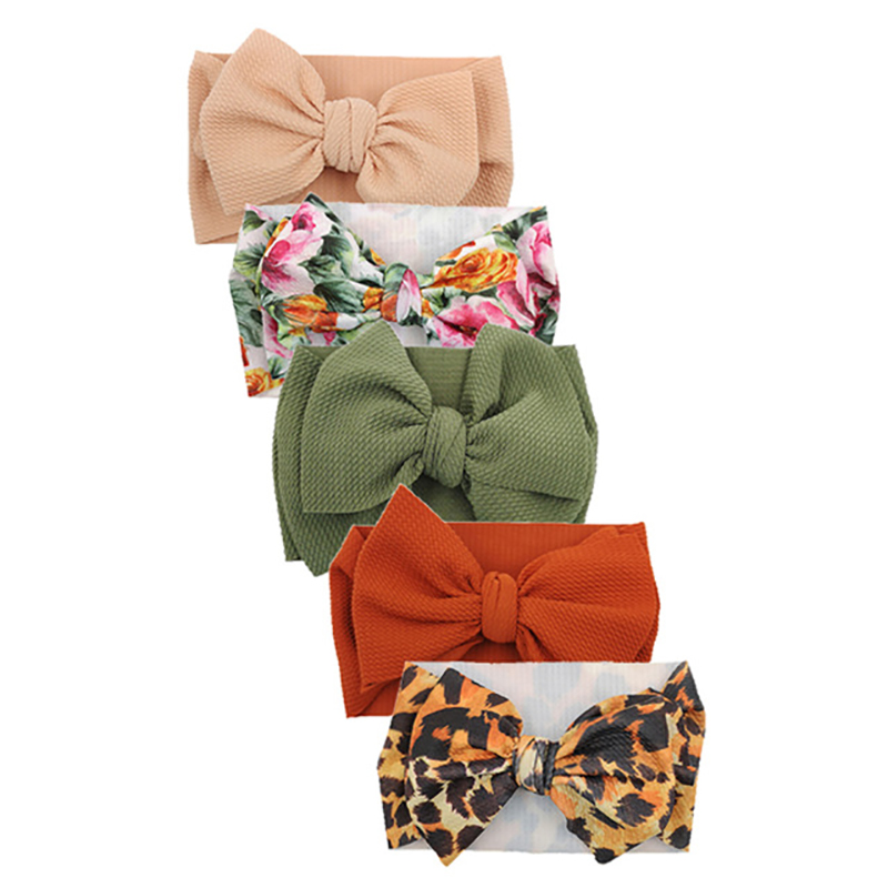 5 Pcs/lot Printing Turban Headband Baby Girls Hair Accessories Bullet Fabric Photo Props Newborn Headwraps Kids Bows Headband