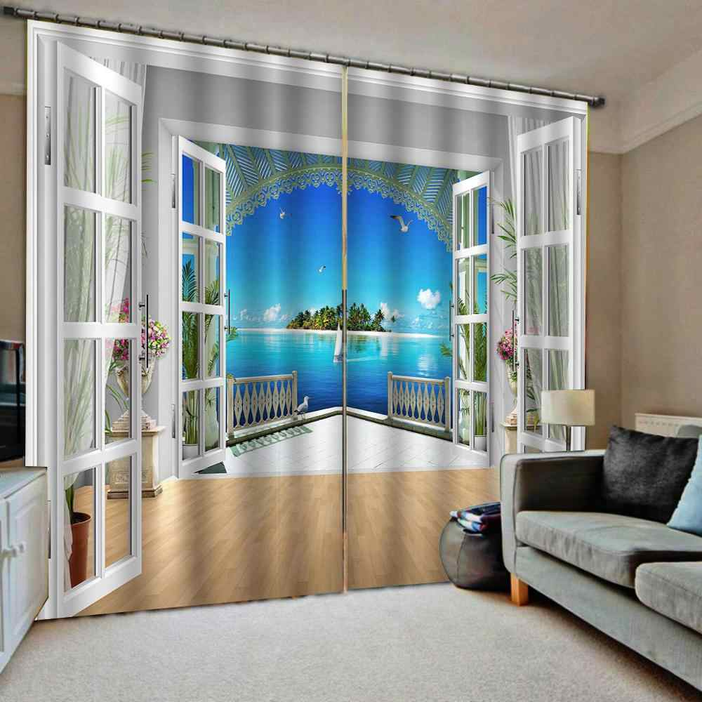 Trippy Sunflowers Window Curtains 3D Windwo Drapes Home Livingroom Bedroom Deco