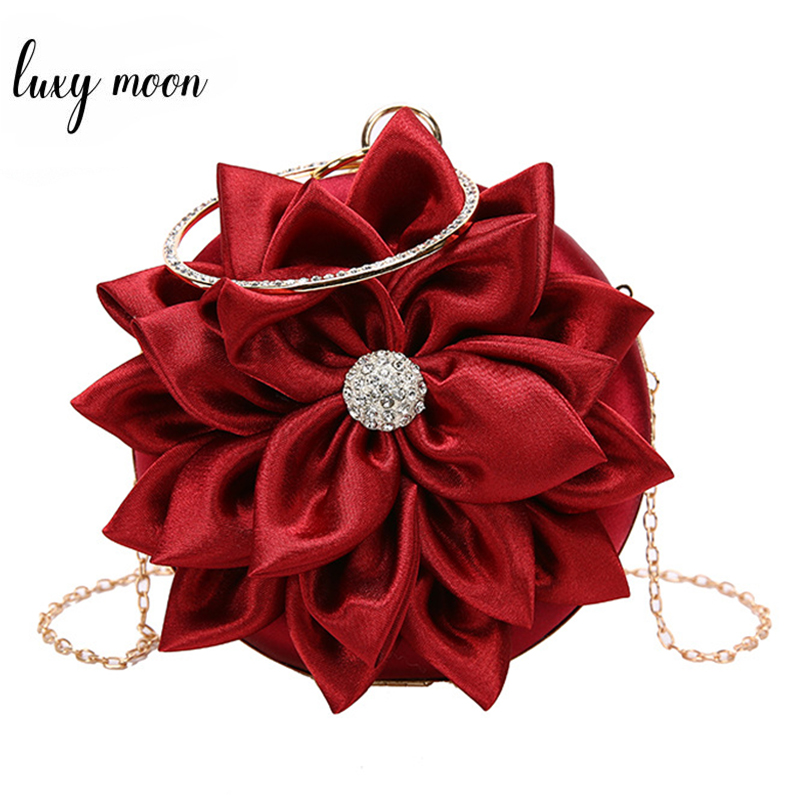 Luxy Moon Women's Clutch Round Flower Evening Bag Luxury Handbag Wedding Party Purse Vintage Elegant Shoulder Bag ZD1474