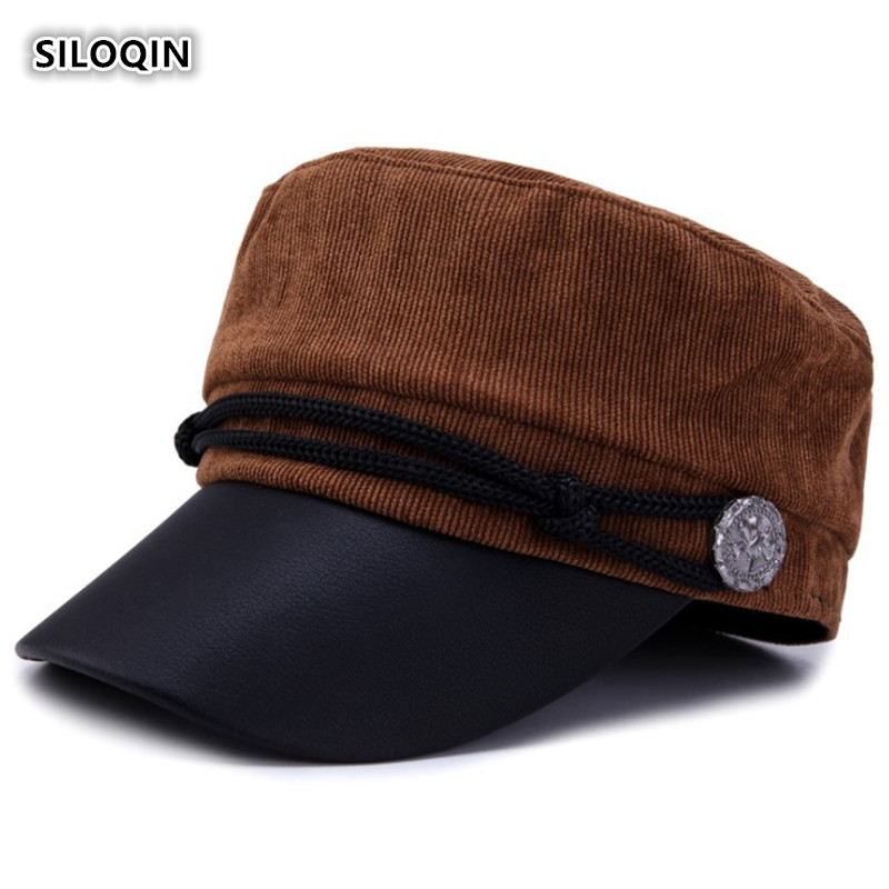 SILOQIN Lady Brand Military Hat Autumn Winter Woman 39 s New Style Trend Corduroy Flat Cap Retro Leisure Tourism Motion Winter Hats in Women 39 s Military Hats from Apparel Accessories