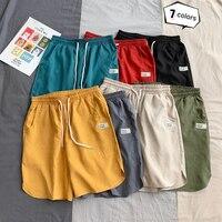 Мужские спортивные шорты, микро-эластичные, дышащие, на завязках, для спортзала, одноцветные шорты для верховой езды, пешего туризма, бега, б...