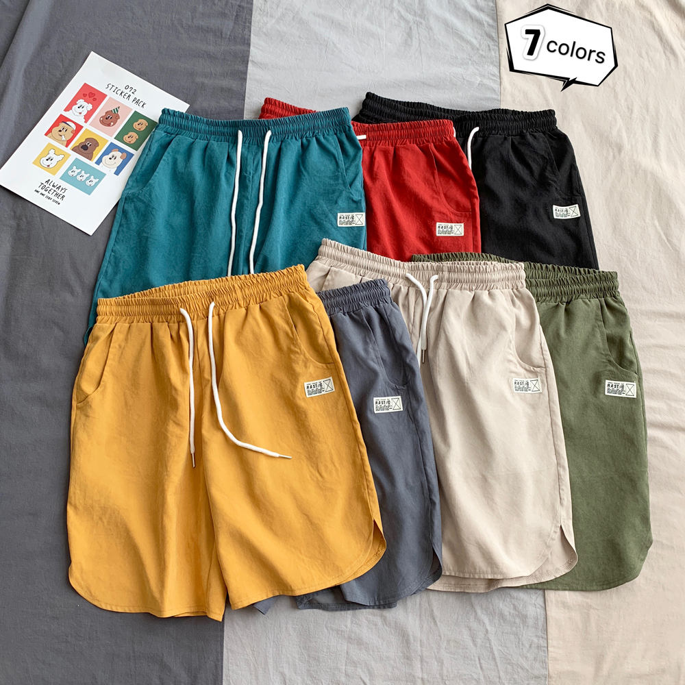 Men's Sports Shorts Micro-elastic Breathable Drawstring Gym Solid Color Shorts Riding Hiking Jogging Quick-drying Sports Shorts