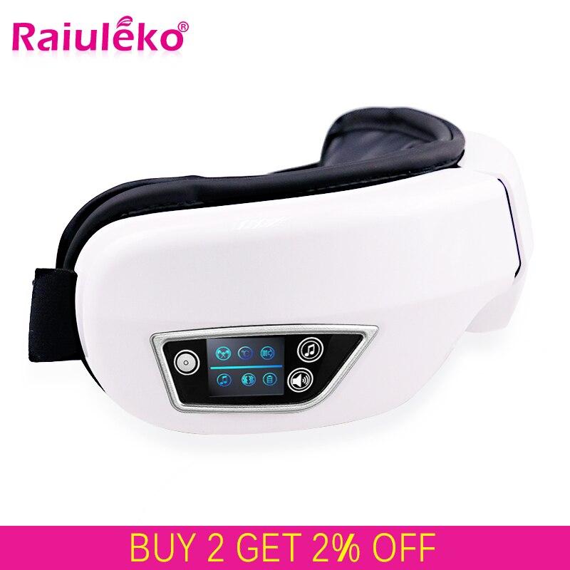 Elétrica Vibração Bluetooth Dispositivo Rugas Olho Massager do Cuidado do Olho Aliviar A Fadiga Massagem de Vibração Terapia Compressa Quente Óculos