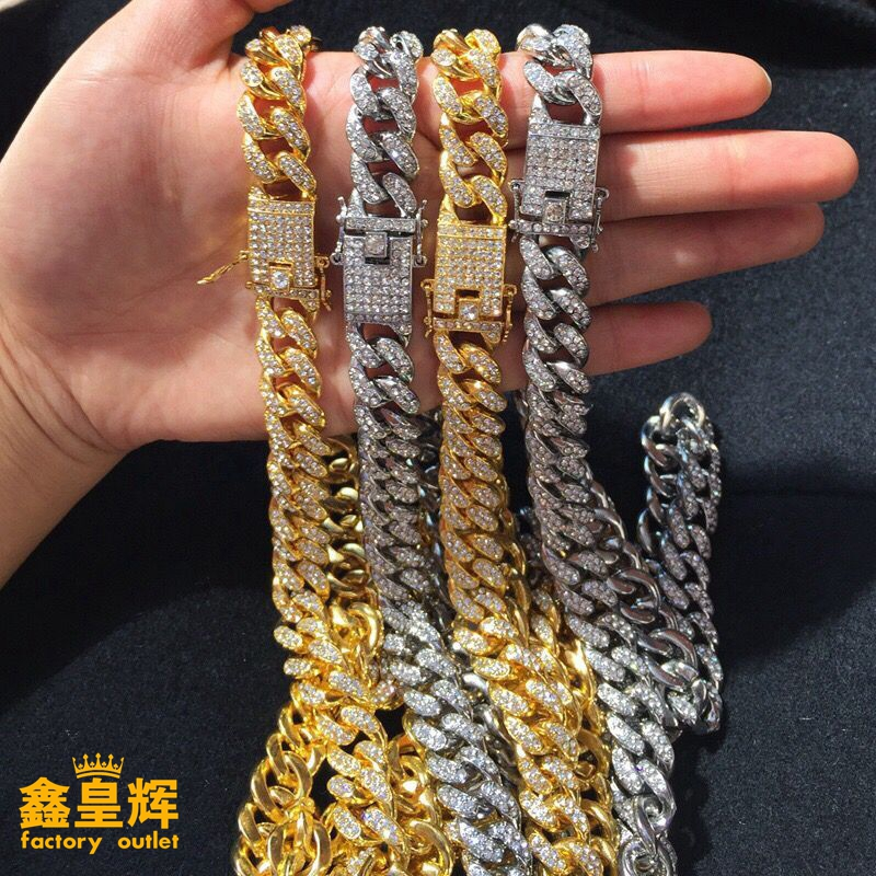 Big Gold Chain Hip-hop Style Gold and Silver Cuban Necklace Tide Cool Hanging Cuban Chain Men and Women Hanging Hip-hop Jewelry
