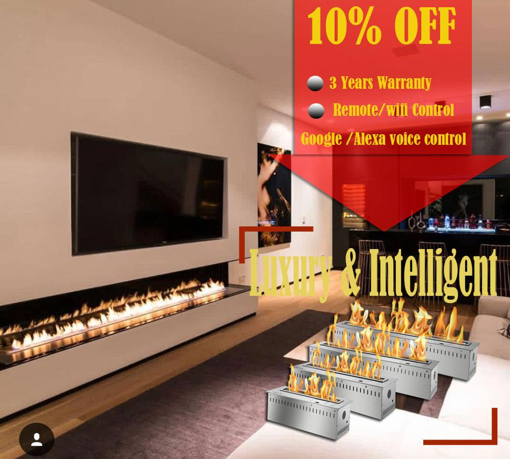 Inno-living 72 Inch Silver Or Black Real Fire Wifi Intelligent Auto Bioethanol Fireplaces