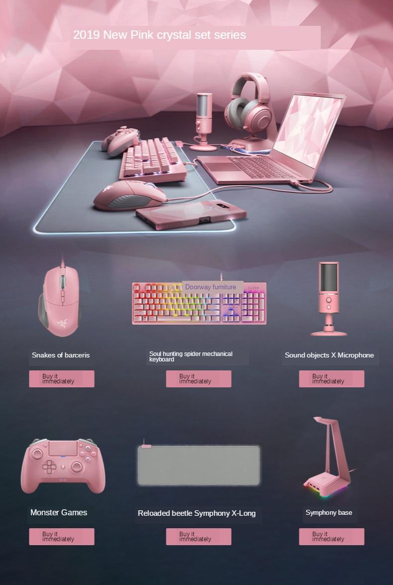 fone de ouvido do conjunto de cristal rosa teclado