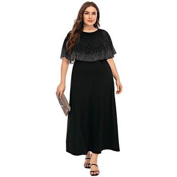 Elegant Women Evening Dress Cloak Sleeves Hot drilling Plus Size Retro A-Line Bling Black Party Dresses D30