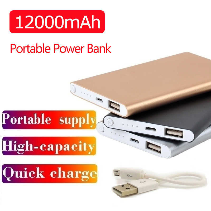 12000mah Ultradünne Power Bank Tragbare USB Batteria Ladegerät Power Externe Batterie Pover Bank für IPhone X Samsung Xiaomi