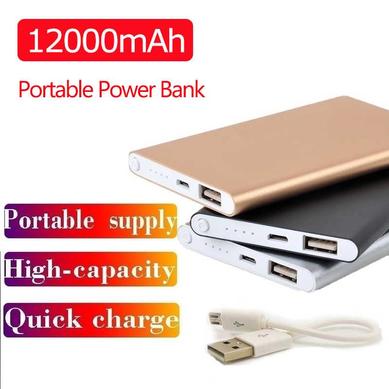 12000 Mah Ultradunne Power Bank Draagbare Usb Batteria Oplader Powerbank Externe Batterij Pover Bank Voor Iphone X Samsung Xiaomi