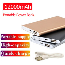 12000mah Ultradünne Power Bank Tragbare USB Batteria Ladegerät Power Externe Batterie Pover Bank für IPhone X Samsung Xiaomi(China)