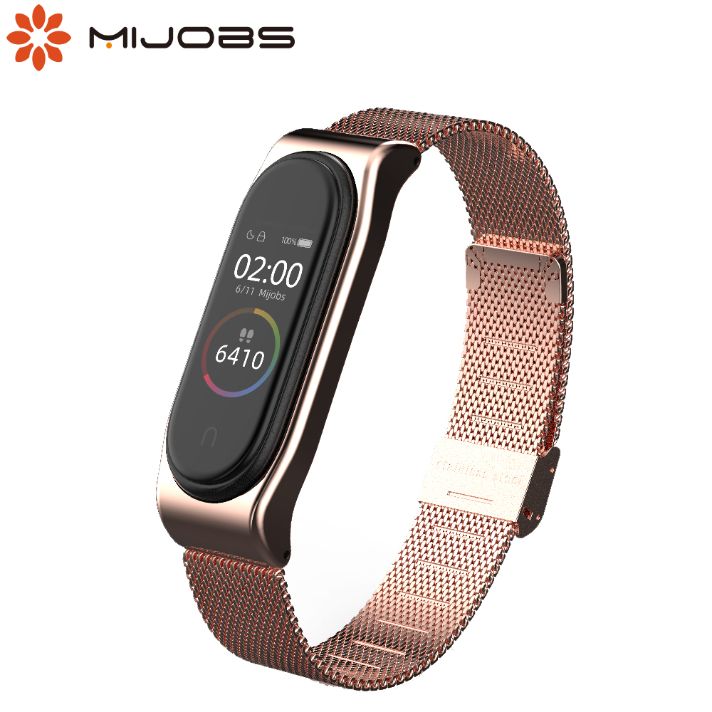 Strap for Mi Band 5 Metal Milanese Bracelet for Xiaomi Mi Band 4 Wristbands Correa Wrist Strap Mi Band 3 NFC Global Version image