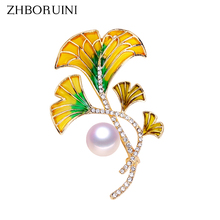 цена на ZHBORUINI 2019 High Quality Natural Freshwater Pearl Brooch Pearl Enamel Flower Brooch Yellow Color Pearl Jewelry For Women Gift