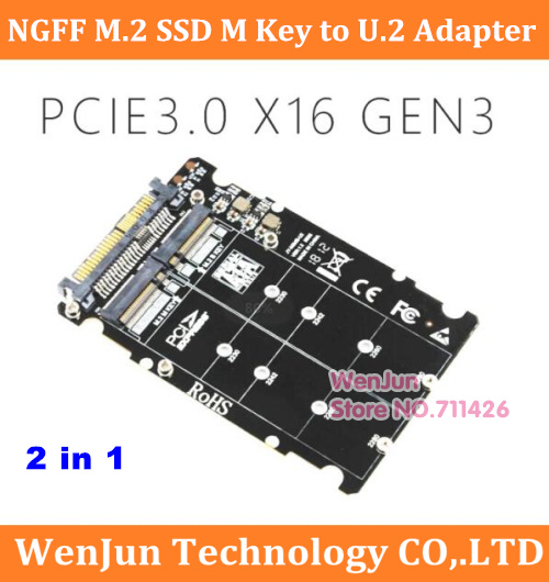 Top Sale 2 in1 <font><b>M.2</b></font> NVMe SATA-Bus NGFF SSD to <font><b>PCI</b></font>-e U.2 SFF-8639 Adapter <font><b>M.2</b></font> SSD to U.2 Converter for Desktop Computer image