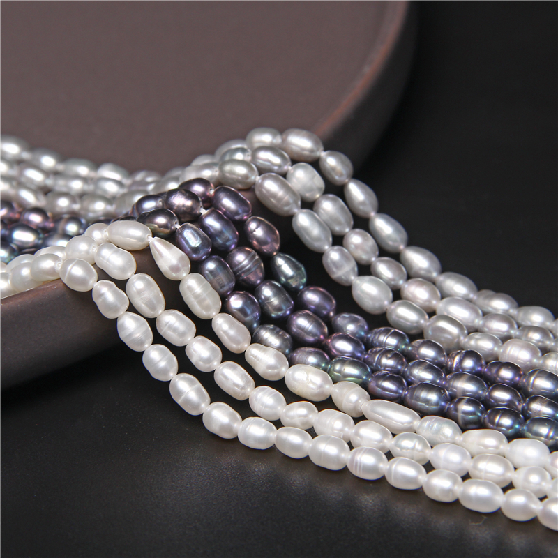 4-4.5mm Natural Freshwater Pearl Beads Rice Shape Punch Loose Beads for DIY Elegant Necklace Bracelet Jewelry Making 14