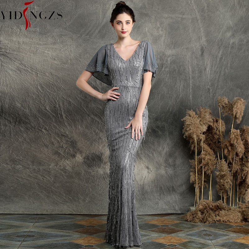 YIDINGZS 2019 Sexy V-neck Sequins   Evening     Dress   Women Elegant Long   Evening   Party   Dress   YD16582