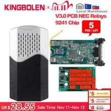 5 шт./лот DS CDP TCS 9241A чип двойная зеленая плата V3.0 Bluetooth 2016 R0/2017 R1 Keygen OBDII диагностический инструмент автоматический сканер