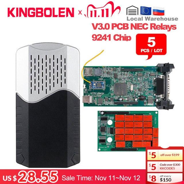 5pcs/Lot DS CDP TCS 9241A Chip Dual Green Board V3.0 Bluetooth 2016 R0/2017 R1 Keygen OBDII Diagnostic Tool Auto Scanner