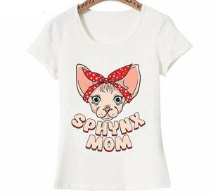 Dugujunyi, verano 2020, camiseta de manga corta con Gato Sphynx, mamá, diseño divertido-Sphynx, mamá mecedora, camiseta con vida del gato, Tops casuales C