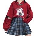 Осень 2020, пуловер со съемным принтом медведя, свитшот с капюшоном, милая Женская толстовка с капюшоном и воротником с пряжкой, верхняя одежд...