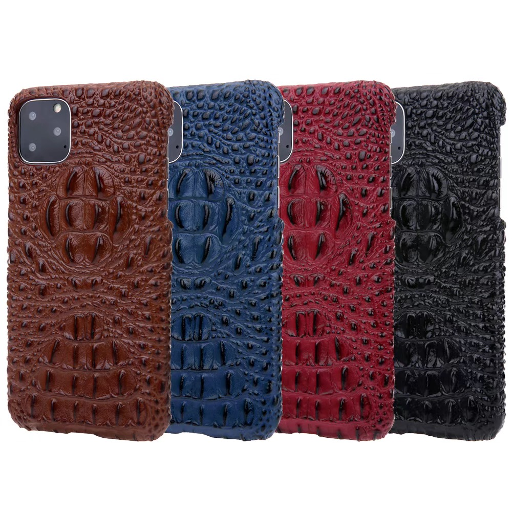 Real leather 3D embossed crocodile pattern for Samsung S8 S9 S10 plus note10 phone back cover feel comfortable protection lens