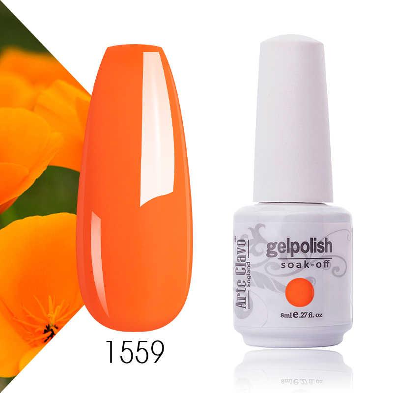 Arte Clavo jel lehçe taban 8ml turuncu renk seti Gellack vernik LED tırnak manikür jel boya tırnak sanat DIY tasarım Glitter tırnak jeli