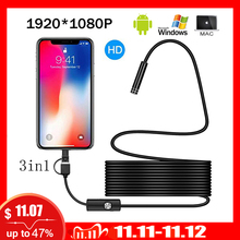 1080P Full HD USB Android kamera endoskop IP67 1920*1080 1m 2m 5m mikro muayene video kamera yılan Borescope tüp