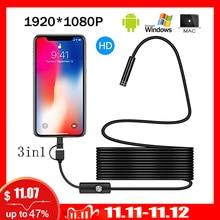 1080p completa hd usb android câmera endoscópio ip67 1920*1080 1m 2m 5m micro inspeção câmera de vídeo tubo de boroscópio cobra