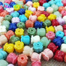 Multicolored Bell Orchids Beads For Jewelry Making Necklace Bracelet 8mm Multi-color Synthetic Coral Beads Accessories Wholesale недорого