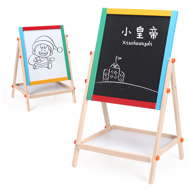 Little Emperor Large Size Solid Wood CHILDREN'S Drawing Board Height Adjustable Small Blackboard Braced Household Magnetic Drawi
