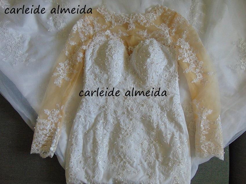 Vestido de noiva Sheer Tulle Back Long Sleeves Vintage Wedding Dress Lace Appliques Pearls Mermaid Suknia slubna