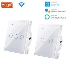 חדש חכם Wifi מגע מתג לא ניטרלי חוט הנדרש חכם בית 1/2/3 כנופיית אור מתג 220V תמיכה alexa Tuya App 433RF מרחוק