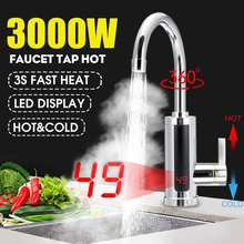 Household Electric instant heating faucet 3000W EU Plug Hot cold dual-use Tankless water quickly heating tap LED display kitchen