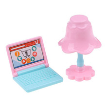 Mini Doll House Plastic Laptop Computer Desk Lamp Set Simulation Doll Accessory Give Children Best Enlightenment Toy Gift