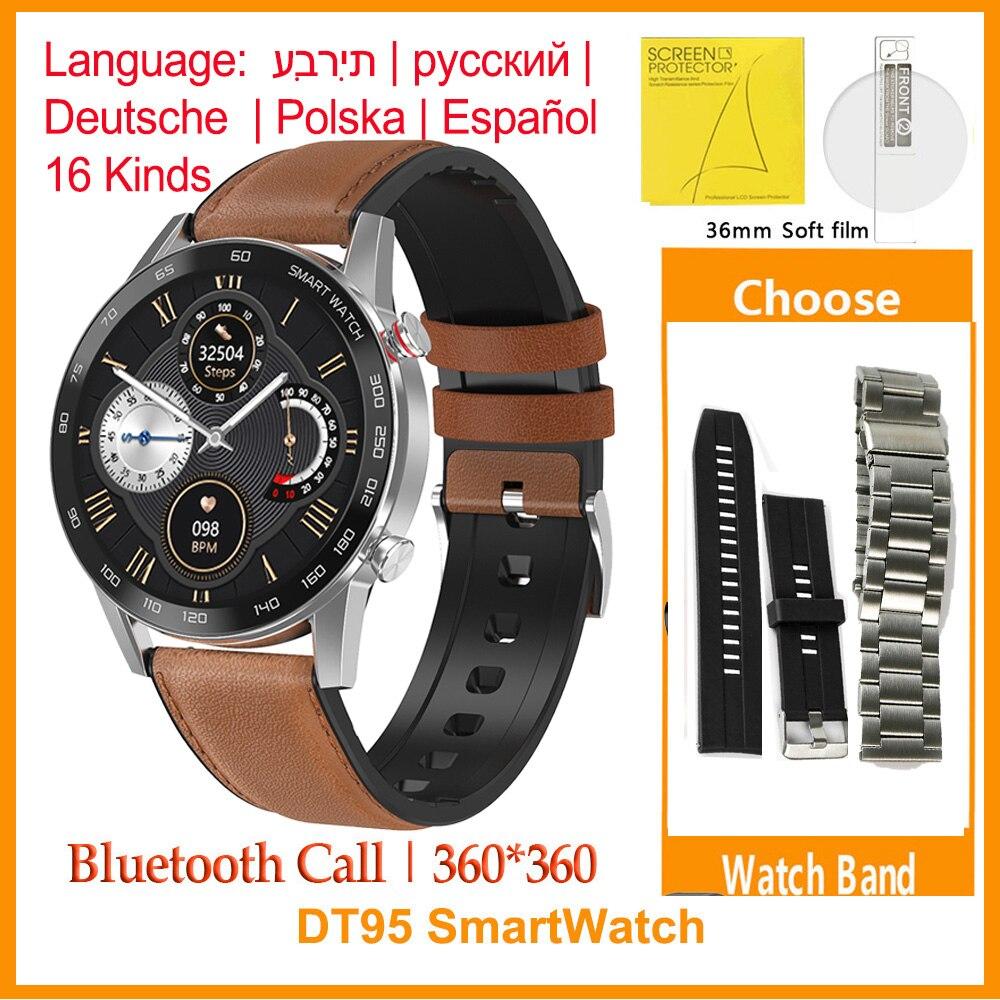 ES  NO 1 DT95 SmartWatch Men IP68 Waterproof Bluetooth Call 360 360 ECG Heat Rate 1 3inch TFT Sleep Monitor VS L16 Smart watch