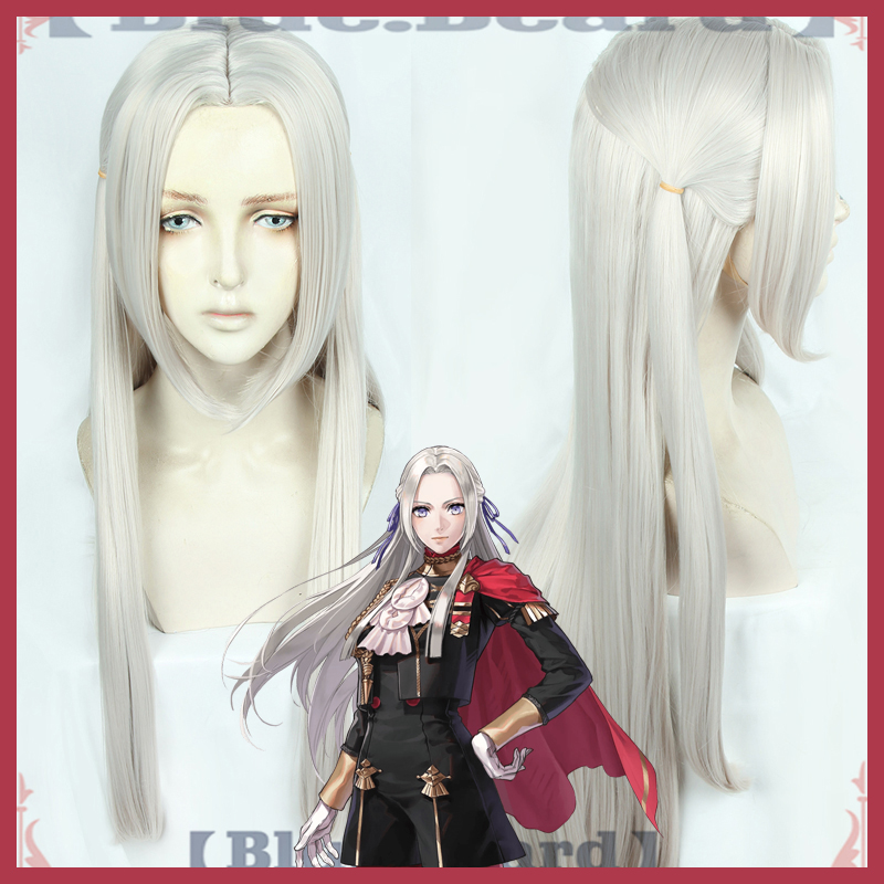 Fire Emblem ThreeHouses Wig Edelgard Von Fresberg Long Gray Straight Middle Part Cosplay Hair Halloween Role Play