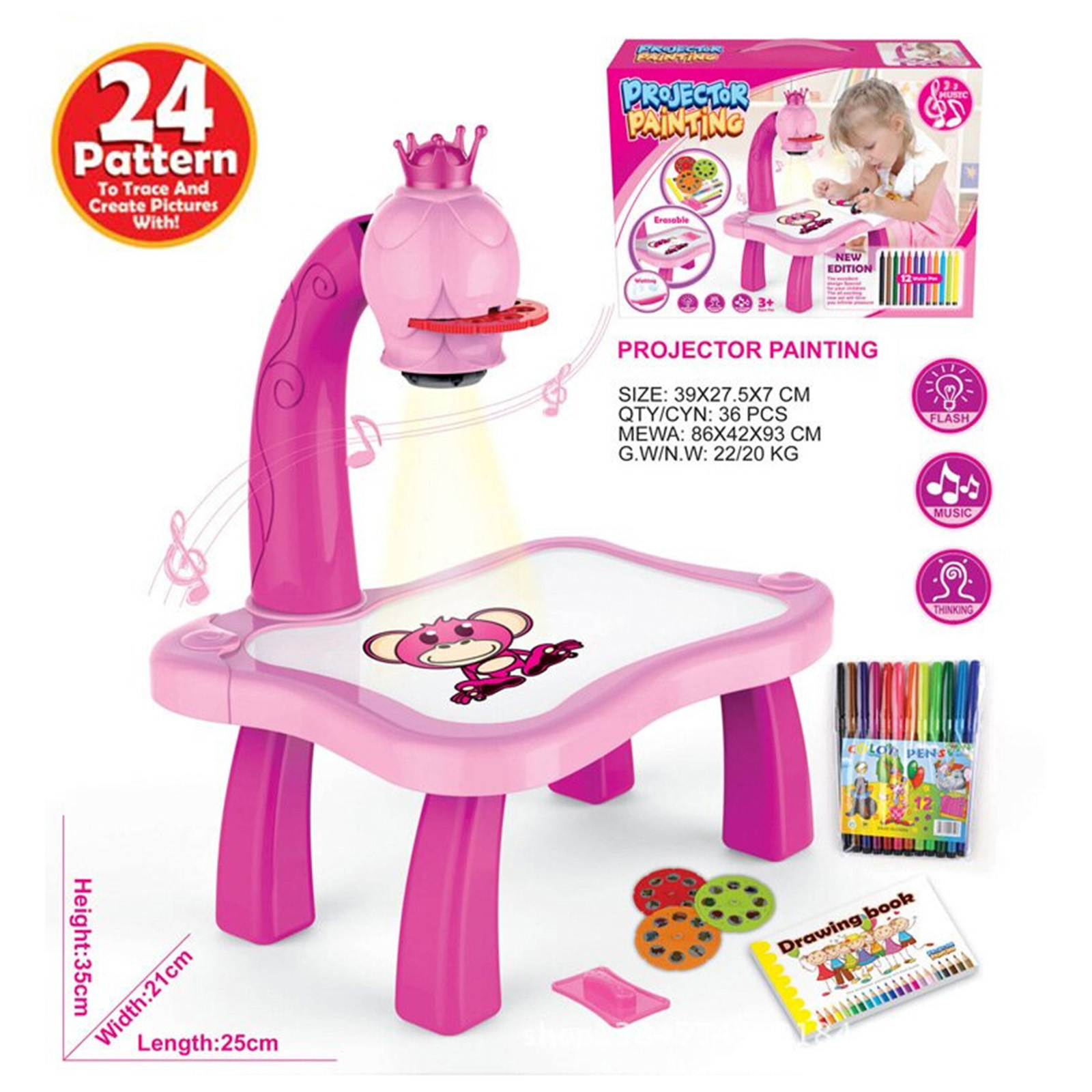 Trace and Draw Projector Toy Kids Drawing Projector Table Child Learning Desk with Smart Projector with Light Music GDeals