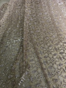 Image 5 - fashionable JIANXI.C 91107 african lace fabric with glued glitter sequins French tulle lace fabric