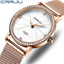 Женские часы crrju модные роскошные с бриллиантами дамские цветком